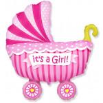 Шар (14''/36 см) Мини-фигура, Коляска для девочки, Розовый, 1 шт.